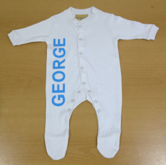 Personalised Baby sleepsuit Babygrow Onesie with childs name printed 0-18mths